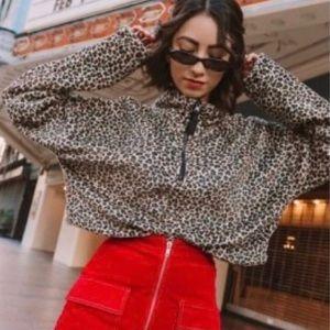 Urban Outfitter Angela Fleece Pullover Crop Jacket